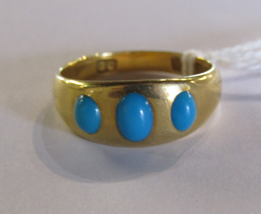 18ct gold turquoise ring size O weight 3.9 g - Image 5 of 11