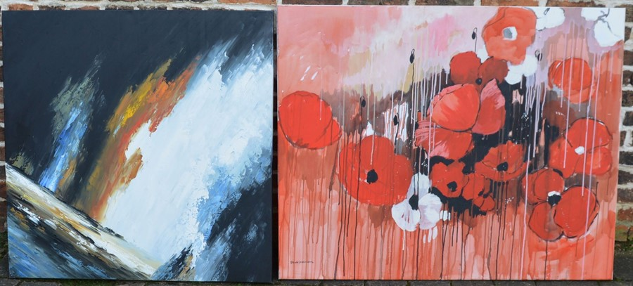 2 large unframed oil paintings on canvas of poppies and an abstract landscape (largest 127 cm x