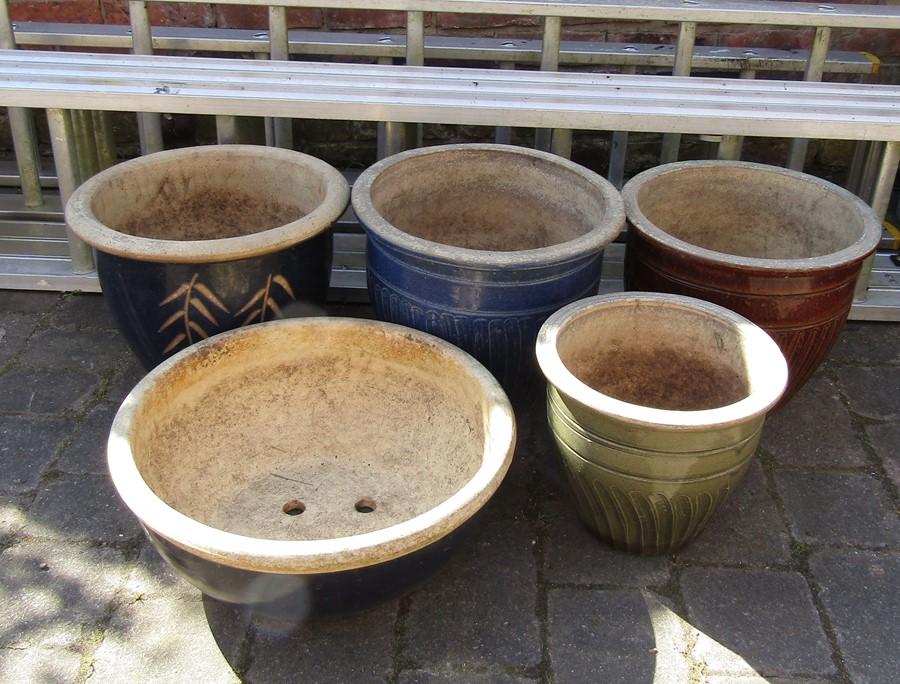 5 large garden planters