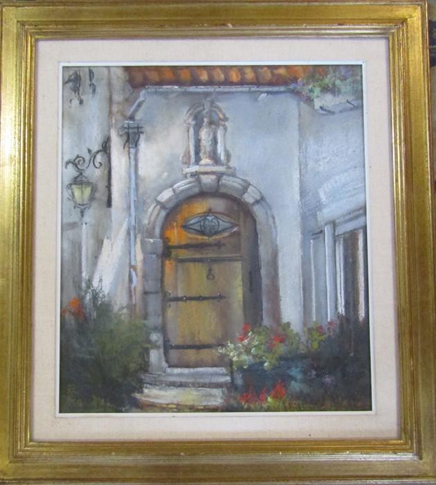 Jacques Van Den Seylbergh (1884-1960) gilt framed pastel drawing of a doorway 70 cm x 77 cm (size