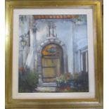 Jacques Van Den Seylbergh (1884-1960) gilt framed pastel drawing of a doorway 70 cm x 77 cm (size