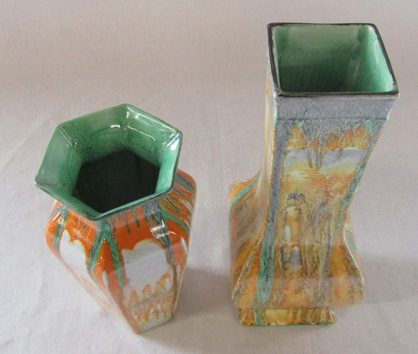 2 Shelley drip ware vases H 24 cm and 18 cm - Image 2 of 5