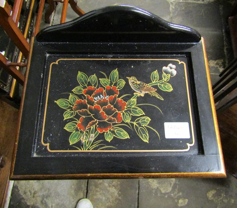 Small Oriental lacquer 5 draw cabinet / jewellery box H 48 cm L 30 cm D 25.5 cm & a cabinet with - Image 12 of 12