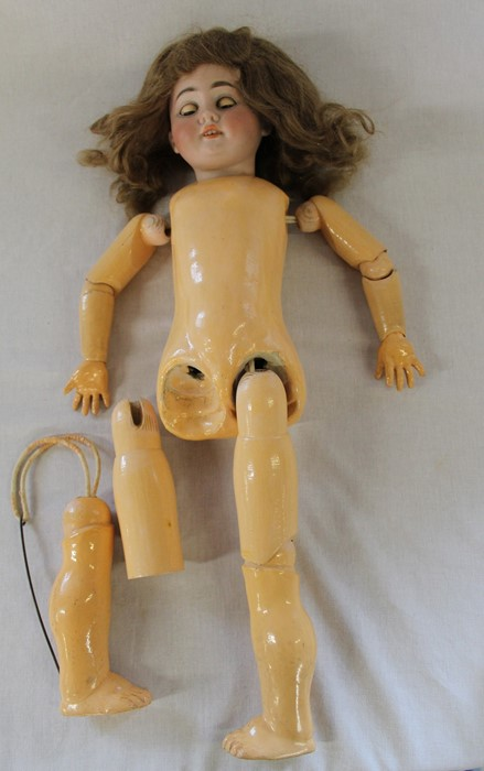 Large Armand Marseille bisque head doll with composition body (1 lower limb un-strung) sleeping eyes - Image 11 of 11