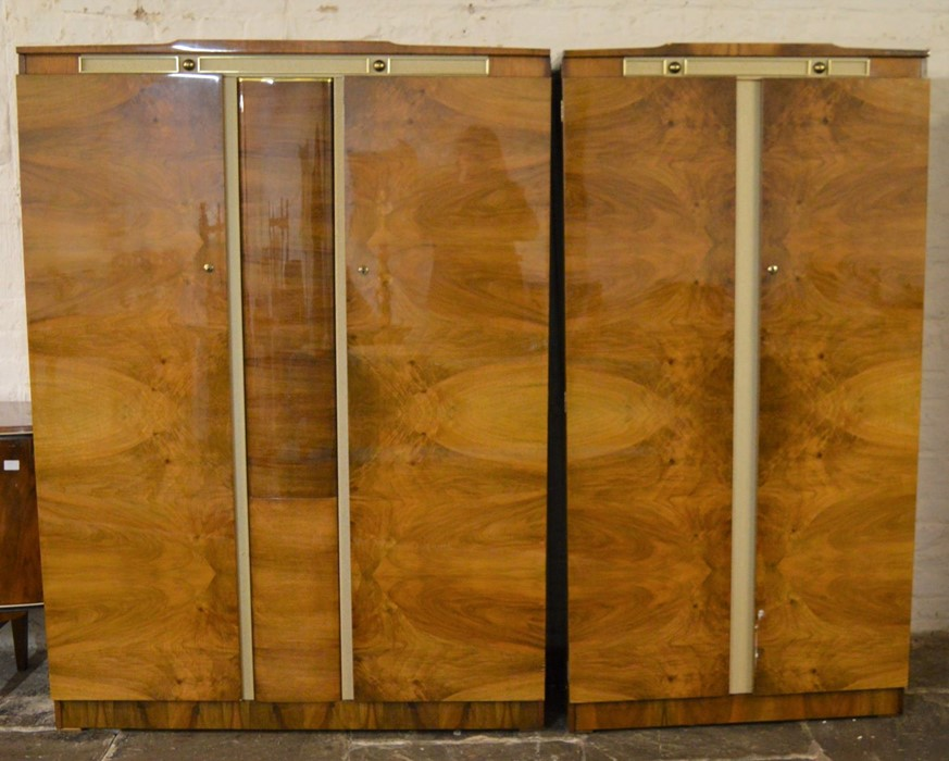 2 mid 20th century Beautility wardrobes one with swivel mirror Ht 178cm W 130cm & 92cm