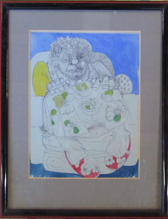 John Hopkinson (b.1941) - framed pen and ink drawing, signed lower left corner 28 cm x 36 cm (size