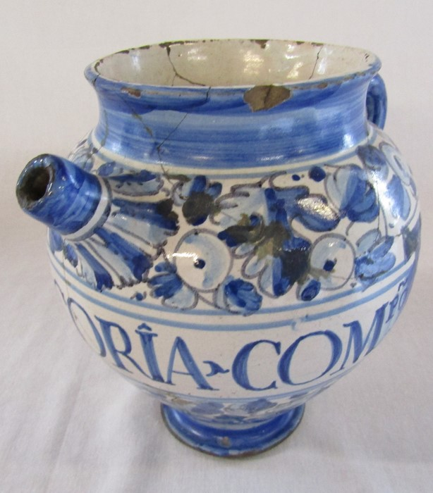 Maiolica wet drug apothecary jar H 18.5 cm (extensively restored) and a Delft ware double gourd / - Image 9 of 13