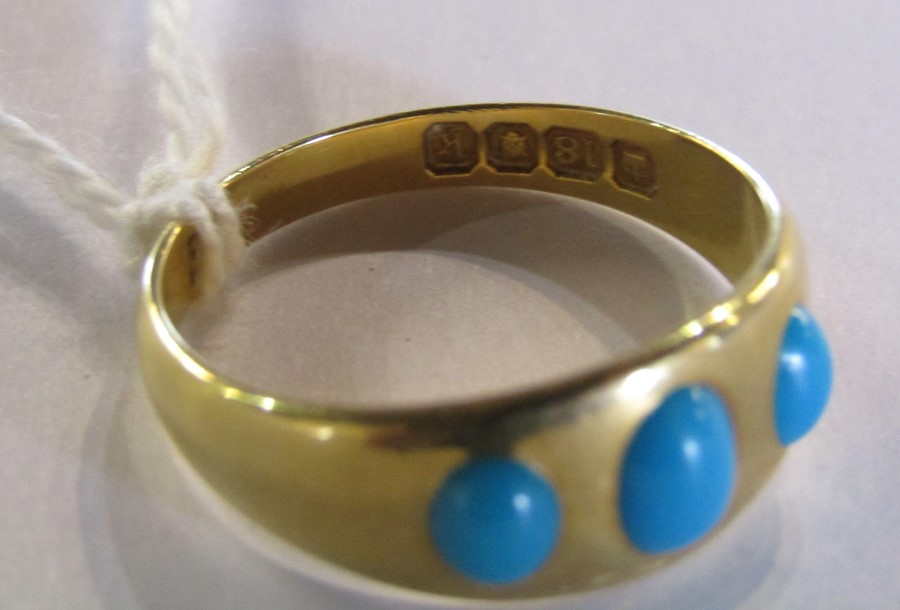 18ct gold turquoise ring size O weight 3.9 g - Image 8 of 11