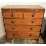 Georgian oak chest of drawers with ebony stringing & walnut veneer to top panel Ht 111cm L 106cm D