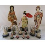 3 Japanese Geisha dolls and various domed covered figures