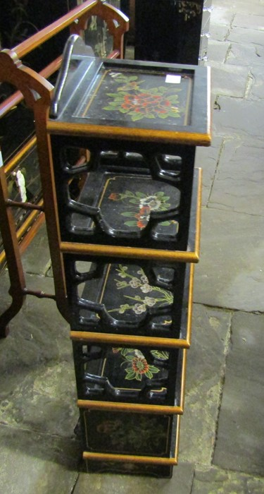Small Oriental lacquer 5 draw cabinet / jewellery box H 48 cm L 30 cm D 25.5 cm & a cabinet with - Image 10 of 12