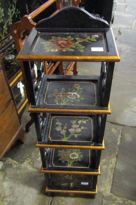 Small Oriental lacquer 5 draw cabinet / jewellery box H 48 cm L 30 cm D 25.5 cm & a cabinet with - Image 9 of 12