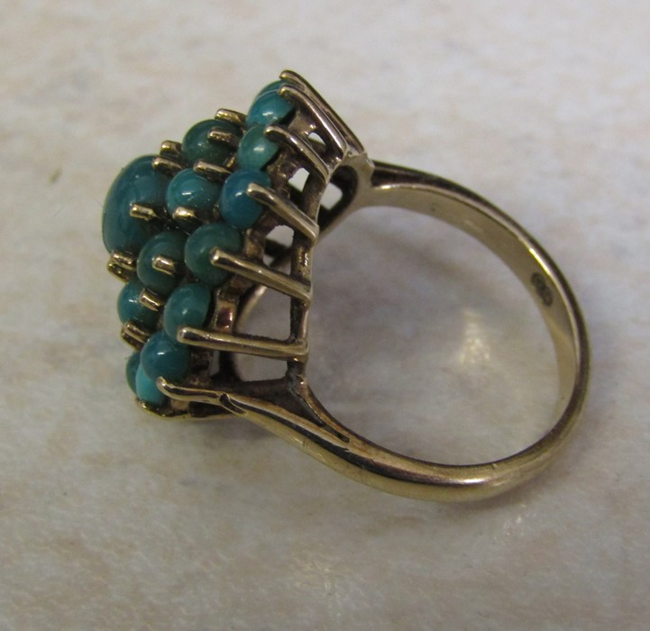 9ct gold turquoise cluster ring, size J/K, hallmarked London 1979, total weight 5.1 g - Image 6 of 6
