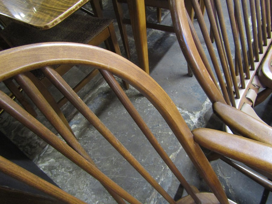 Spindle back Ercol sofa, chair and footstool all without upholstery - Image 7 of 7