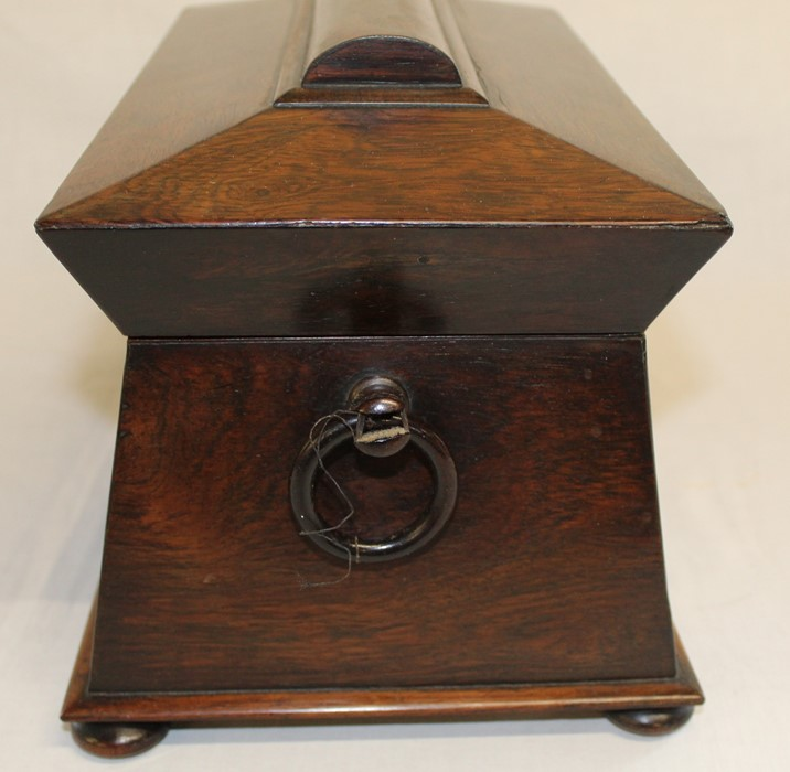 Large 19th century rosewood sarcophagus tea caddy, 33.5cm wide (damage to right handle) - Image 3 of 5