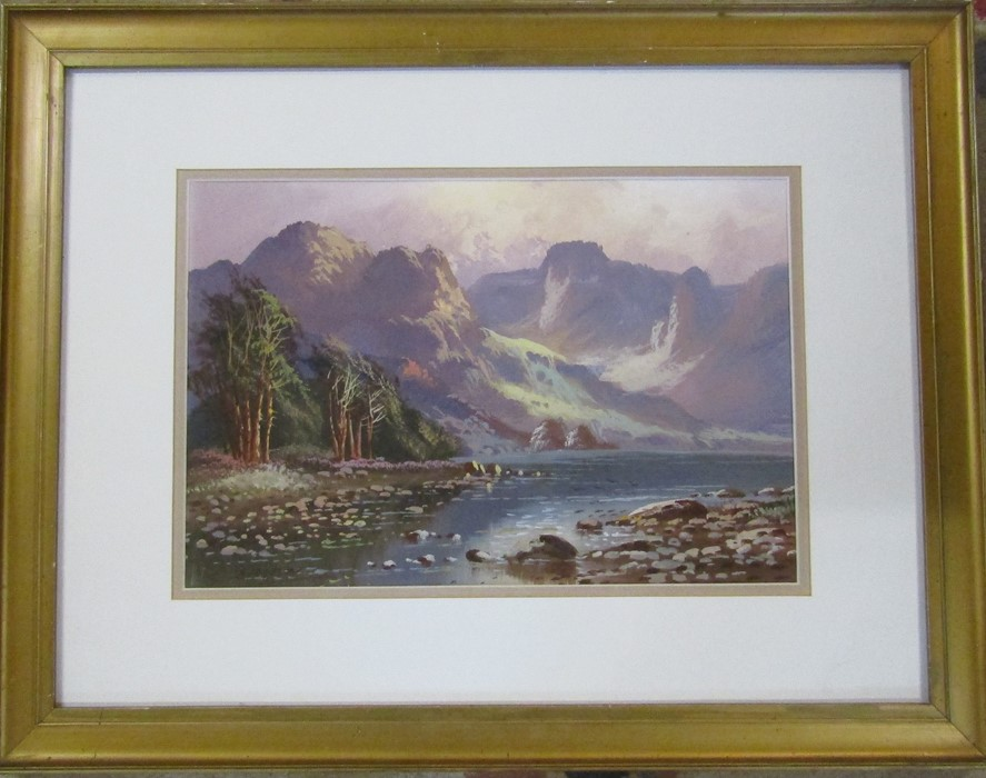 Framed and glazed acrylic landscape of a mountainous scene signed J A Jameson 60 cm x 47 cm (size
