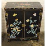 Small Oriental 2 door cabinet Ht 76cm L59cm D 28cm