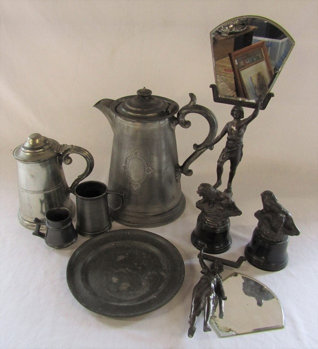 Large pewter tankard H 30 cm, tankards, plate and pair of figural spelter candle reflectors (one