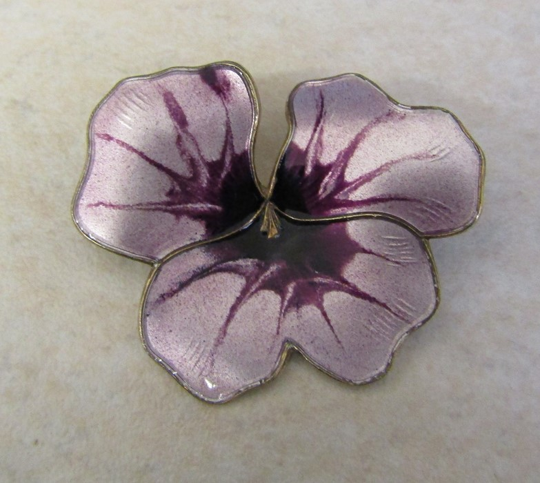 David Anderson Norway silver and enamel flower brooch 11.2 g 43 mm x 38 mm - Image 2 of 3