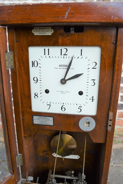 Early 20th century National Time Recorder Co. Ltd clocking in machine originally in the Gas - Image 3 of 4