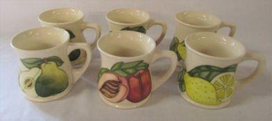 6 Moorcroft fruit mugs - Pear, Lemon and Peach H 9 cm (2 of each design)
