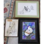 Framed watercolour of a parrot by C Hunter 48 cm x 58 cm (size including frame) and 2 prints of bull