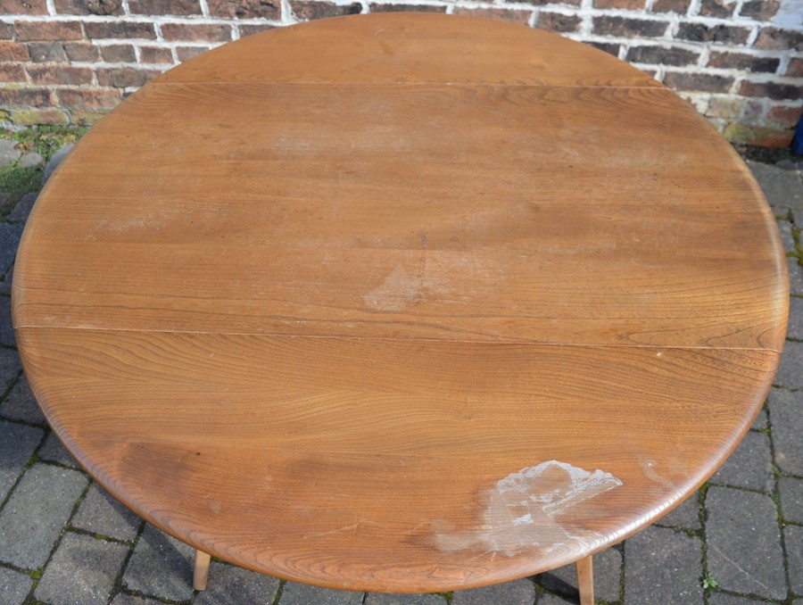 Ercol drop leaf table (marked top) 112cm by 124cm & 4 Ercol comb back chairs - Image 5 of 6