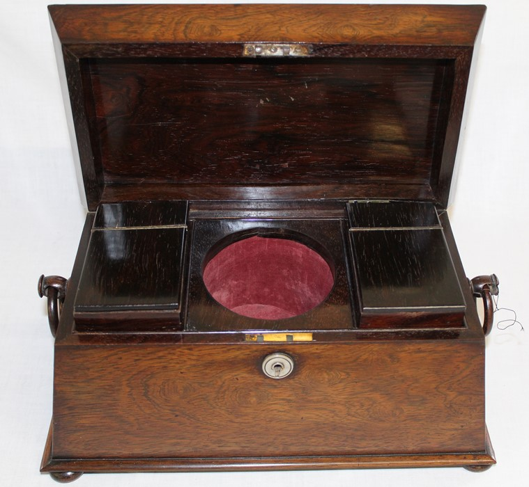 Large 19th century rosewood sarcophagus tea caddy, 33.5cm wide (damage to right handle) - Image 2 of 5
