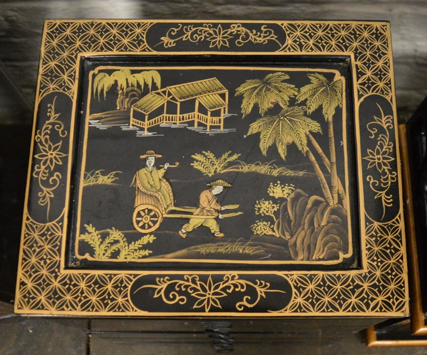 Small Oriental lacquer 5 draw cabinet / jewellery box H 48 cm L 30 cm D 25.5 cm & a cabinet with - Image 2 of 12
