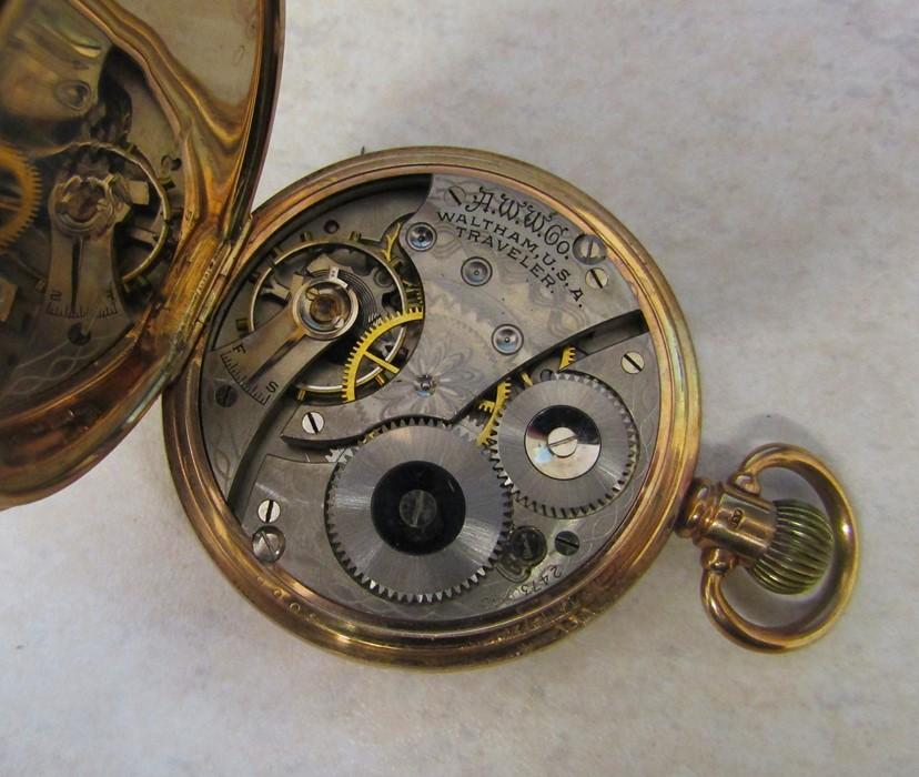 9ct gold half hunter Waltham pocket watch (glass broken), Birmingham 1926, engraved to Jos Chapman - Image 4 of 5