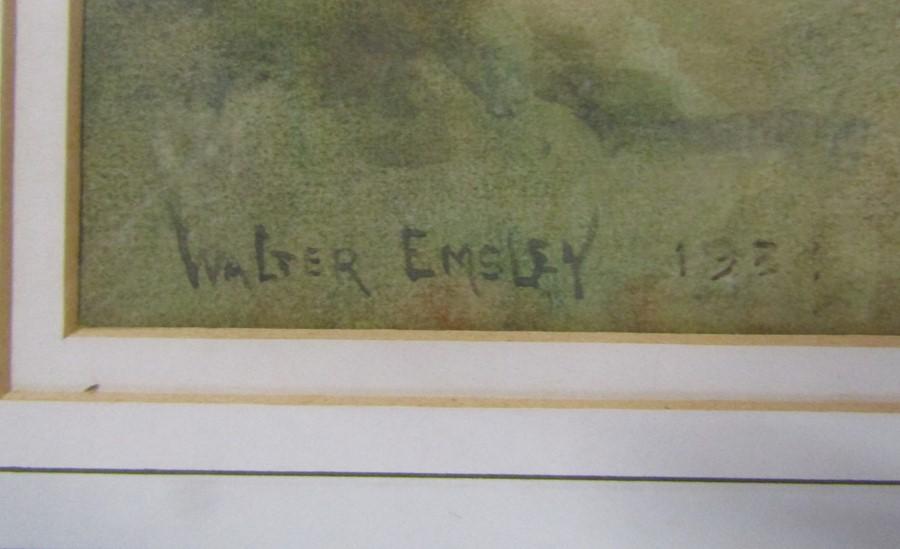 Walter Emsley (1860-1938) framed watercolour landscape signed and dated lower left corner 55 cm x 45 - Image 2 of 3