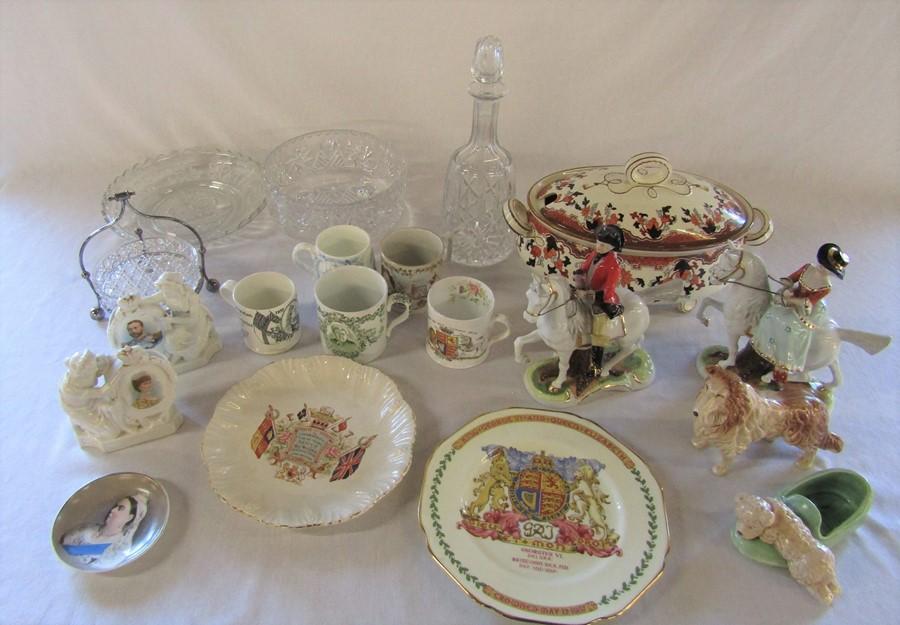 Various ceramics inc Sylvac (collie dog repaired nose), Queen Victoria mugs and plates, tureen,