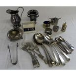 Pair of silver cufflinks Birmingham 1968 & selection of silver plate including Wembley 1924 napkin