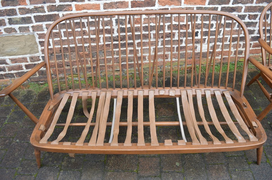 Spindle back Ercol sofa, chair and footstool all without upholstery - Image 2 of 7