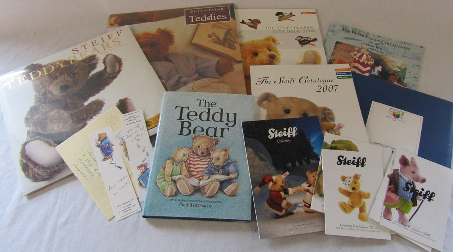 Various Steiff catalogues, calendars, The Teddy Bear Book by Prue Theobalds etc