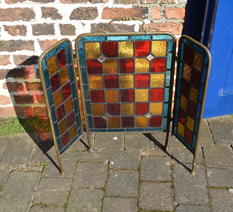 Brass and leaded glass fire screen