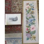 Large framed floral tapestry panel 116 cm x 41 cm and a framed print 'The first locomotive passing