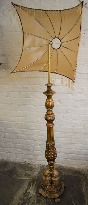 Ornate gilded resin standard lamp with/in need of repairs
