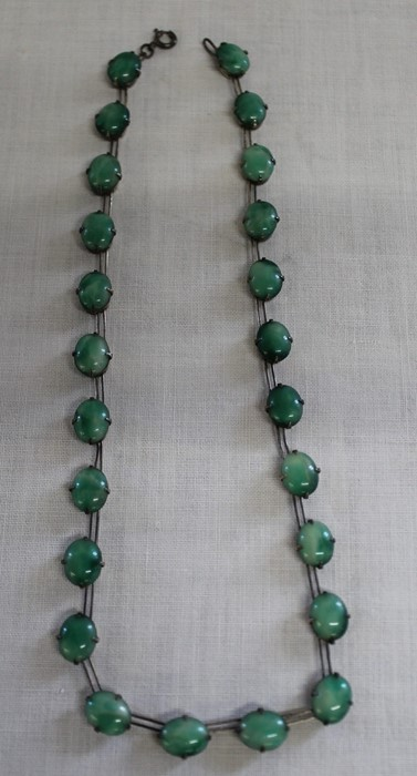 Early 20th century faux jade and silver wire necklace