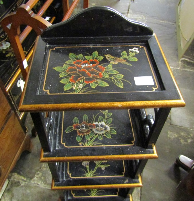 Small Oriental lacquer 5 draw cabinet / jewellery box H 48 cm L 30 cm D 25.5 cm & a cabinet with - Image 8 of 12