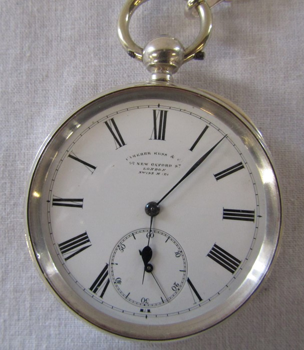 Swiss silver pocket watch, Camerer Kuss & Co 56 New Oxford Street, London, 3 bears mark D 5 cm - Image 3 of 5