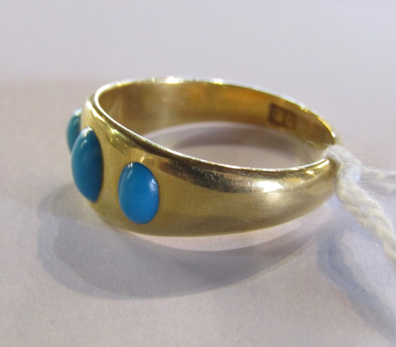 18ct gold turquoise ring size O weight 3.9 g - Image 6 of 11