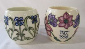 2 Moorcroft floral mugs - collectors club MCC 1998 and florian forget me not