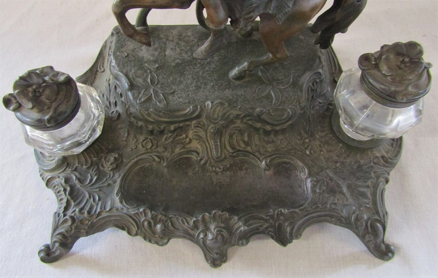 A French early 20th century spelter ink stand / desk stand of a hunting man on horseback signed A - Image 3 of 7