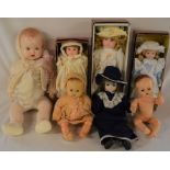 Collection of 7 dolls including 3 boxed Alberon