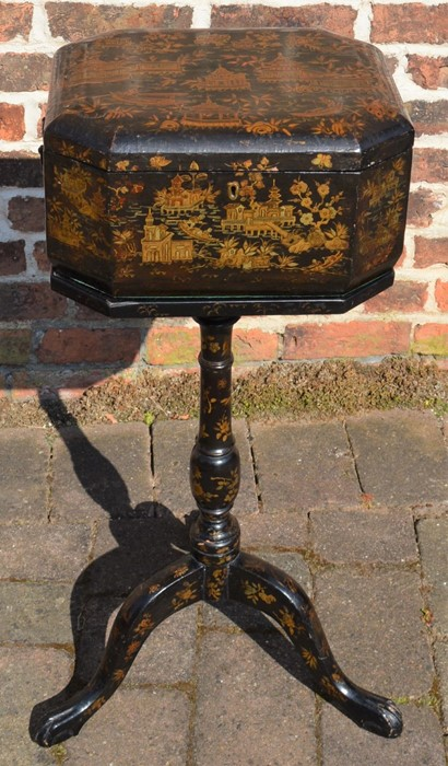 Lacquer teapoy/box on pedestal tripod stand with gilded decoration