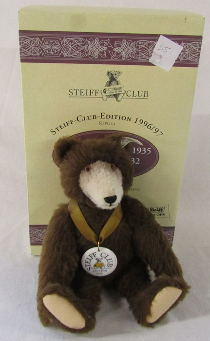 Steiff Club edition 1996 teddy bear, reproduction of Dicky Braunbar 1935, L 32 cm, complete with