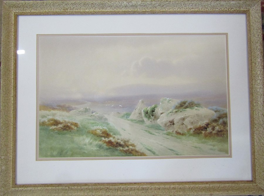 Charles E Brittan (1870-1949) framed watercolour landscape described to verso 'Near Prince Hall