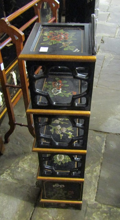 Small Oriental lacquer 5 draw cabinet / jewellery box H 48 cm L 30 cm D 25.5 cm & a cabinet with - Image 11 of 12