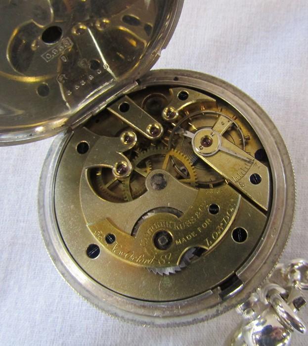 Swiss silver pocket watch, Camerer Kuss & Co 56 New Oxford Street, London, 3 bears mark D 5 cm - Image 5 of 5